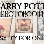 Harry Potter party photobooth easy DIY for only $1. Use our free printables, some glue, and a poster board to make this Sirius Black sign for your Harry Potter theme party.