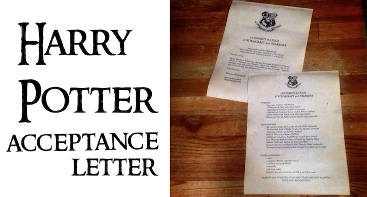 Harry Potter Hogwarts Acceptance Letter Paper Trail Design