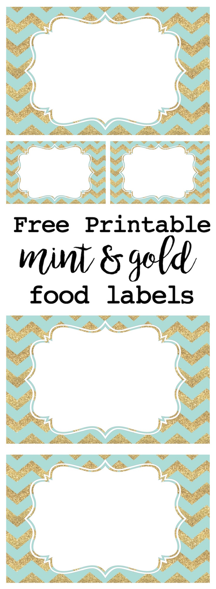 photo relating to Free Printable Food Labels for Party named Mint and Gold Get together Food stuff Labels - Paper Path Style