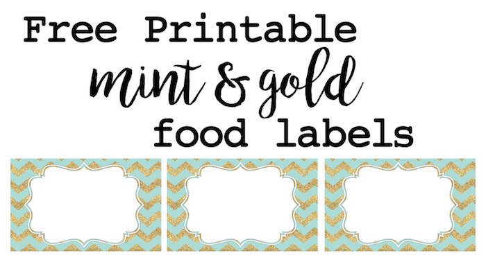 image about Free Printable Food Labels for Party identified as Mint and Gold Bash Food stuff Labels - Paper Path Style