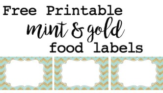 Mint and Gold Party Food Labels