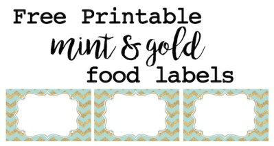 Mint and gold party food labels or name cards free printable. Print these food tags for a baby shower, bridal or wedding shower, or first birthday party. Instructions on how to customize them included!