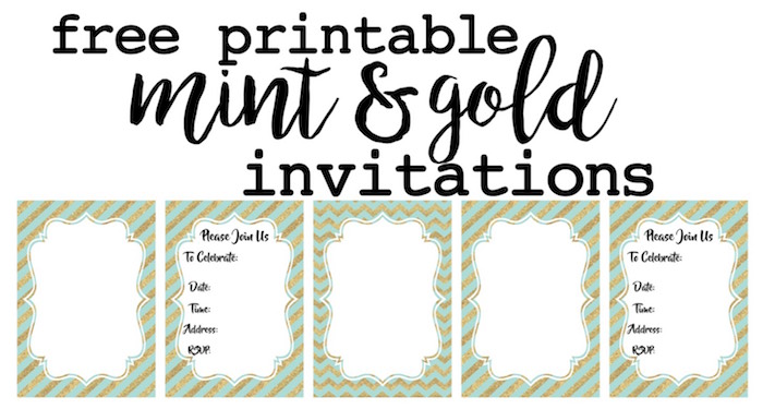 photograph relating to Free Printable Patriotic Invitations titled Mint and Gold Occasion Invites No cost Printable - Paper Path