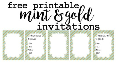 Mint and Gold invitations free printable. Customize these invitations for your wedding, bridal shower, baby shower, or mint and gold theme birthday party. Easy instructions on how to customize them.