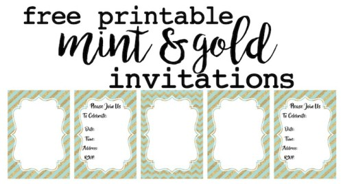 Mint And Gold Invitations Free Printable Customize These For Your Wedding Bridal Shower