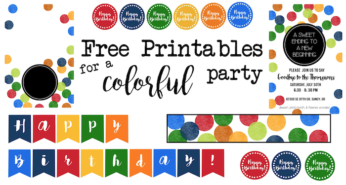 Colorful Party Free Printables. Print this easy decor for a rainbow or confetti themed colorful birthday party, baby shower, bridal shower or whatever occasion you like.