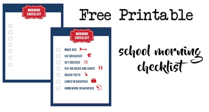 School Morning Routine Checklist Free Printable  Paper Trail Design