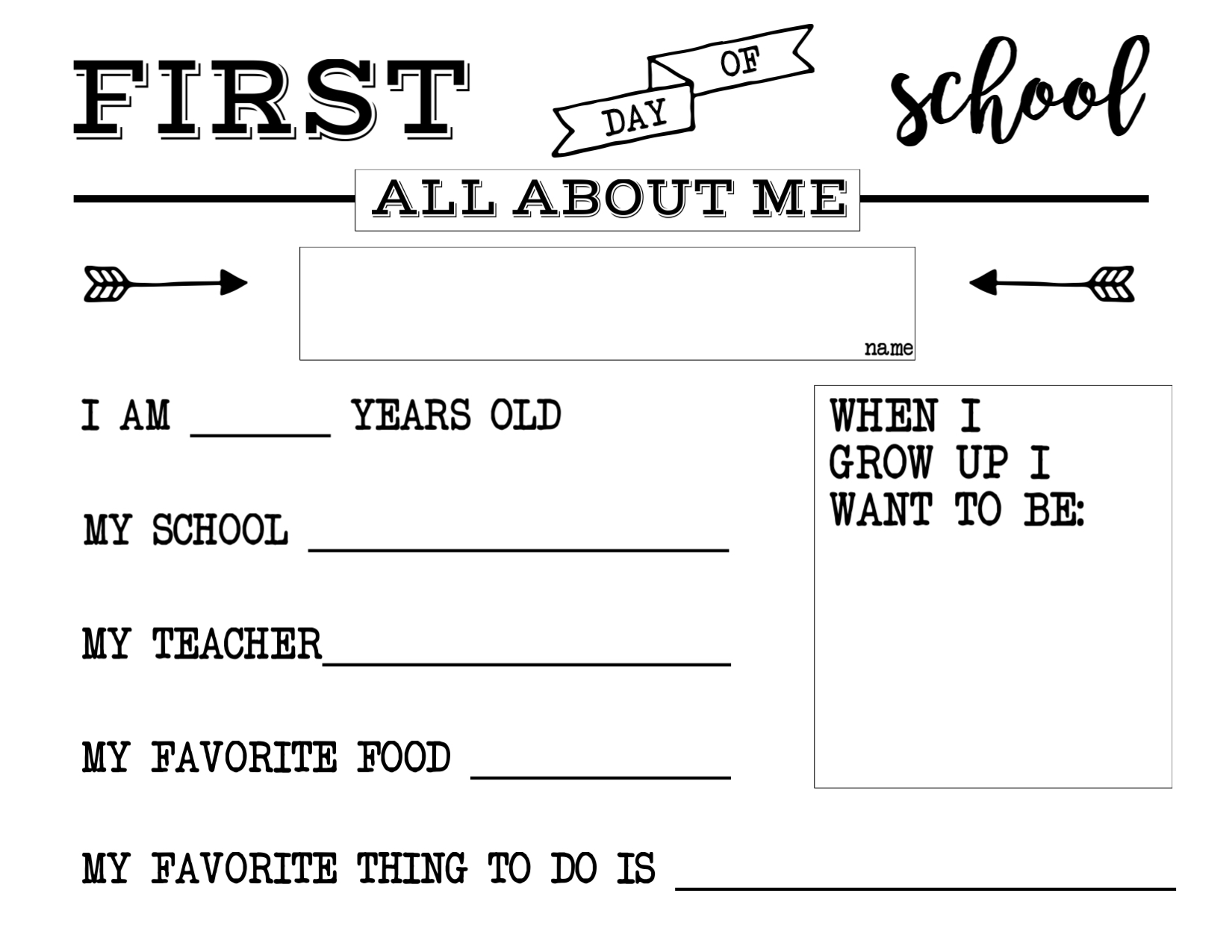 First Day Of School All About Me Sign