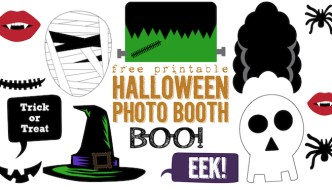 Free Printable Halloween Photo Booth. This DIY Halloween photo booth is easy and cheap. Cut print and cut out. Includes mummy, Frankenstein, witch hat, boo glasses, Dracula teeth, spider, skeleton, trick or treat sign, and more!