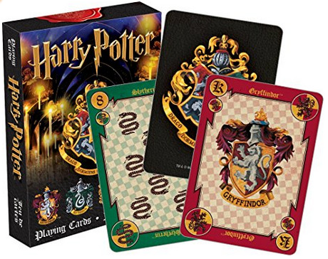 Harry Potter Playing Cards set. The four Hogwarts houses, gryffindor, slytherin, hufflepuff, and ravenclaw are featured instead of hearts, clubs, diamonds, and spades. Genius!