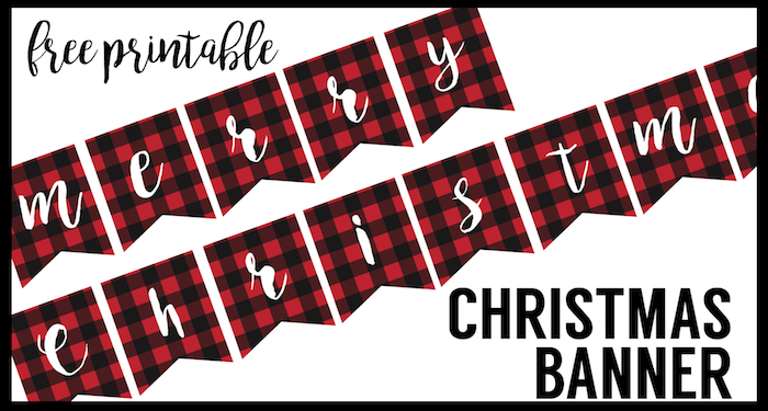 Free Printable Merry Christmas Banner - Paper Trail Design