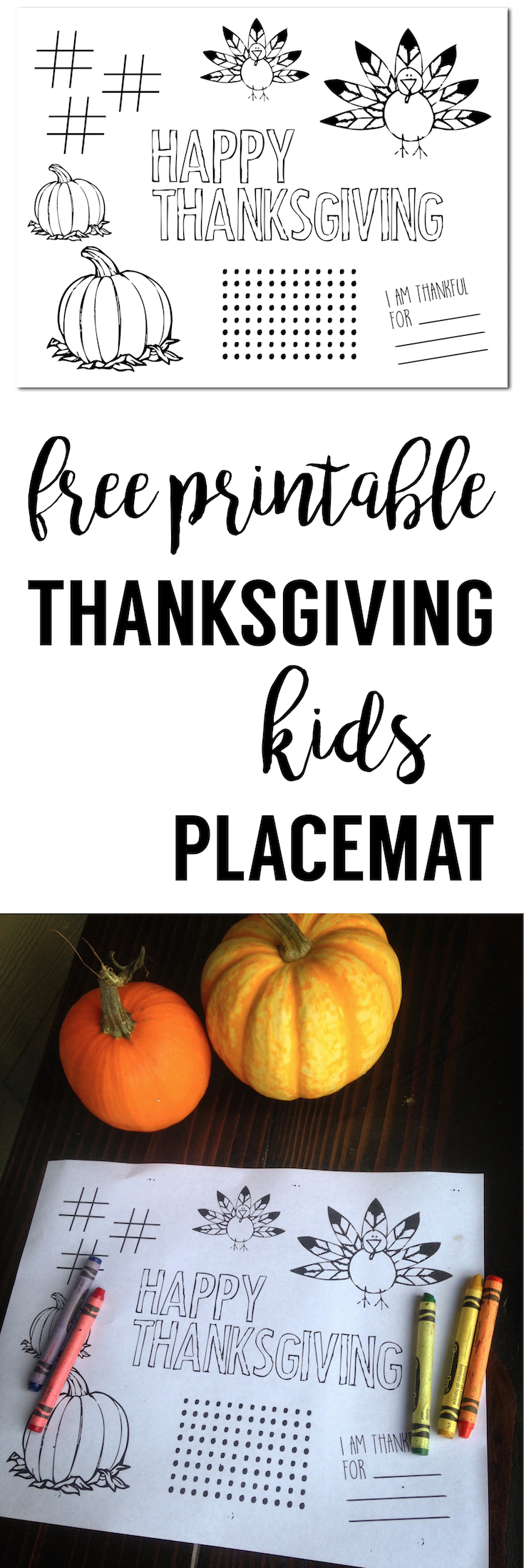 Thanksgiving Placemat Free Printable. Print out this Thanksgiving kids activity page for the kids.