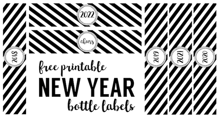 New Year Bottle Labels Free Printable. Print these water bottle wrappers for your New Year's Eve party for some cute New Year decor.