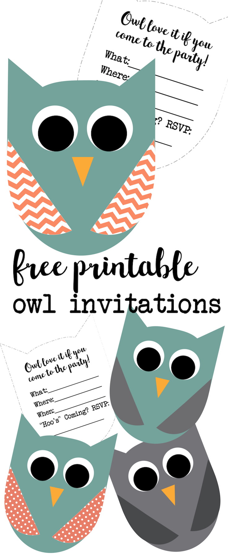 Free Printable Owl Invitations. These cute owl invitations are great for an owl birthday invitation or an owl baby shower invitation. Free printable owl party invitations.