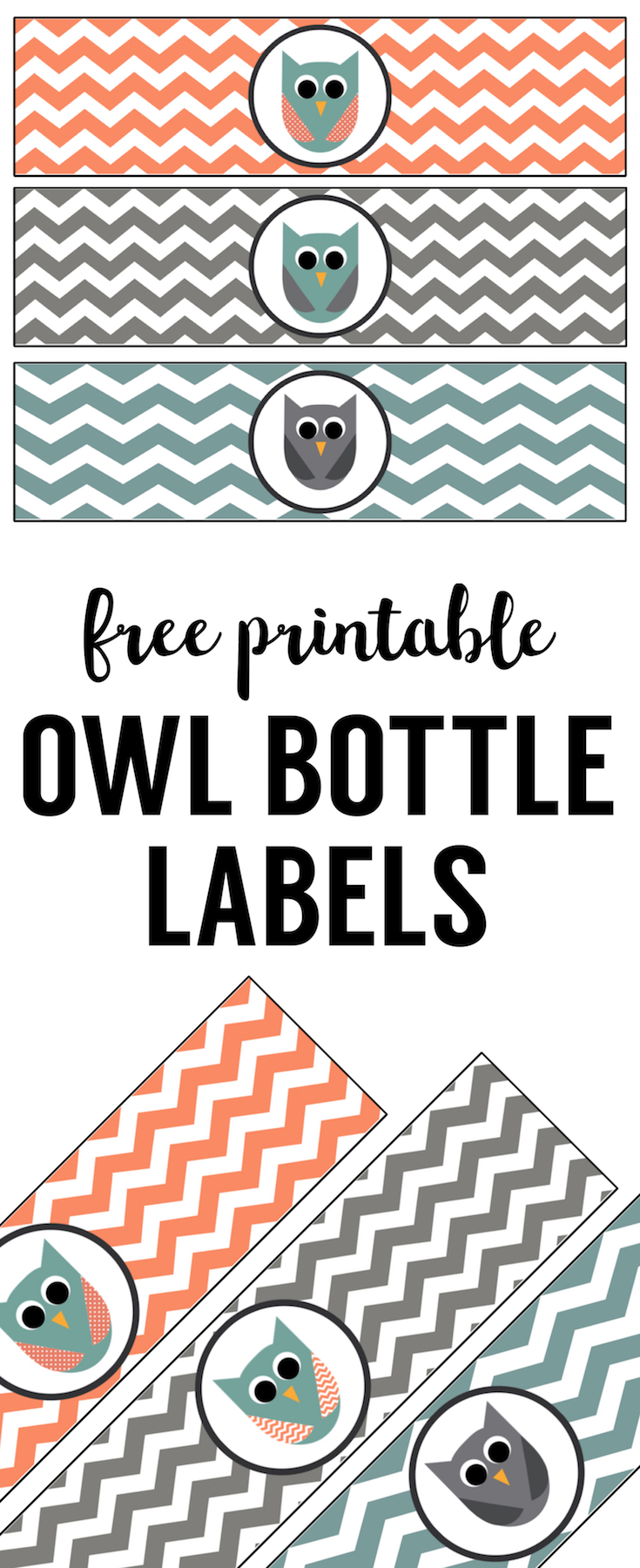 Free Printable Owl Water Bottle Labels. Great for owl birthday party theme or owl baby shower theme party. Print the owl water bottle wrappers and tape to a bottle..