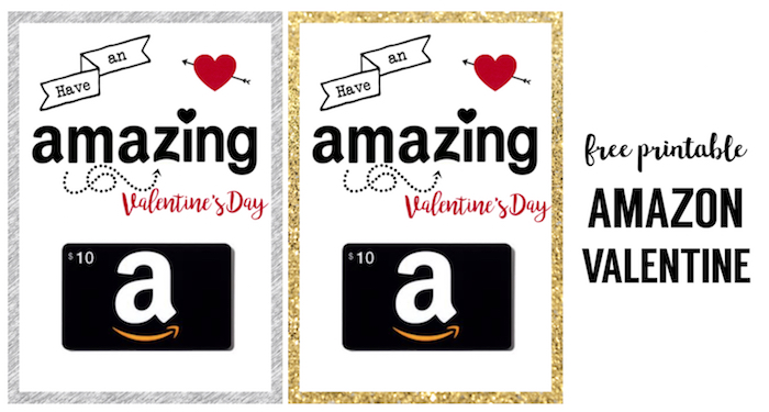 Amazon Valentine Card Printable. This printable amazon gift card valentine is the perfect DIY valentine card. Add a gift card to this free printable Valentine's day card and you are set.