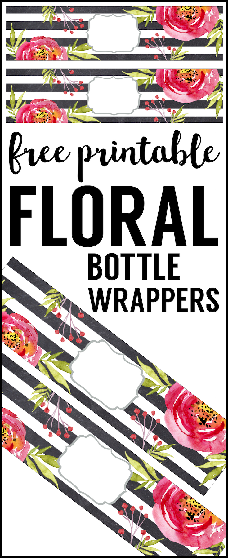 Flower Water Bottle Labels Free Printable - Paper Trail Design