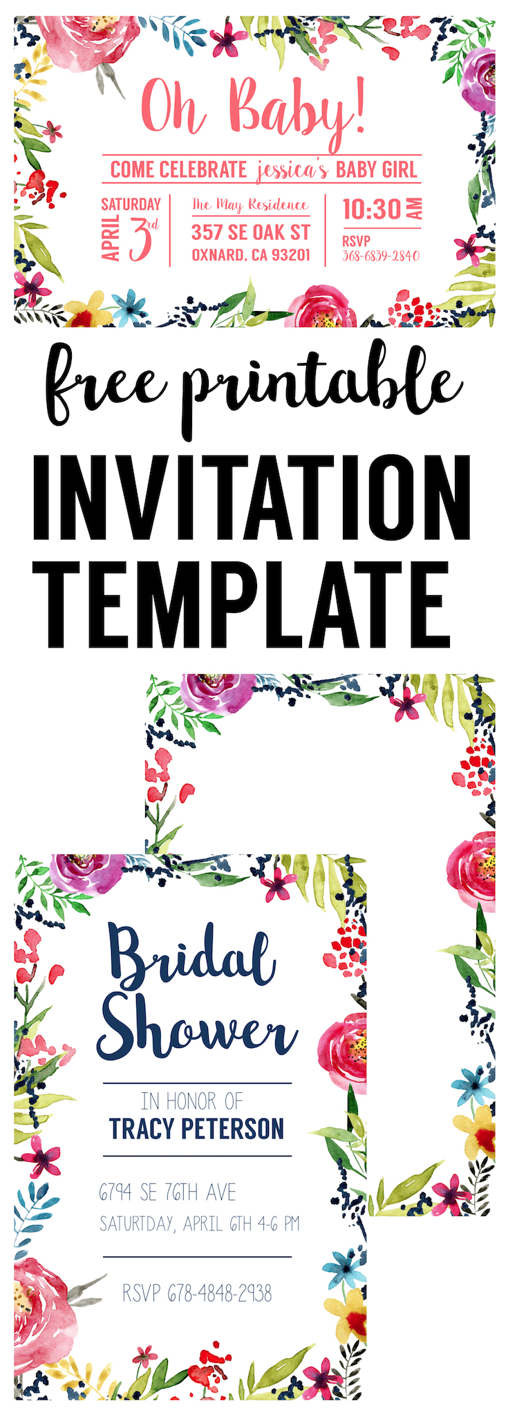 graphic about Free Printable Flower Borders named Floral Borders Invites No cost Printable Invitation
