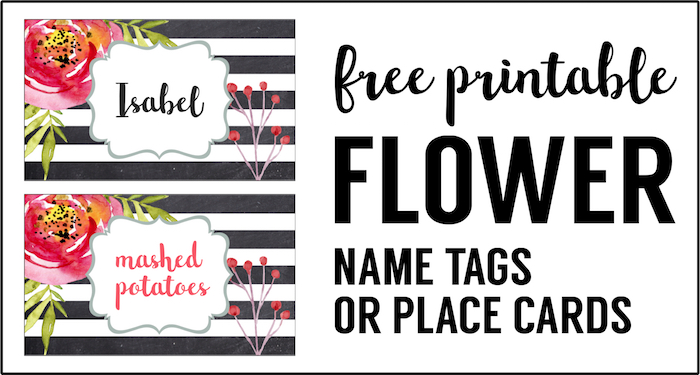 image regarding Free Printable Name Labels identified as Flower Room Card Holder or Foodstuff Labels No cost Printable