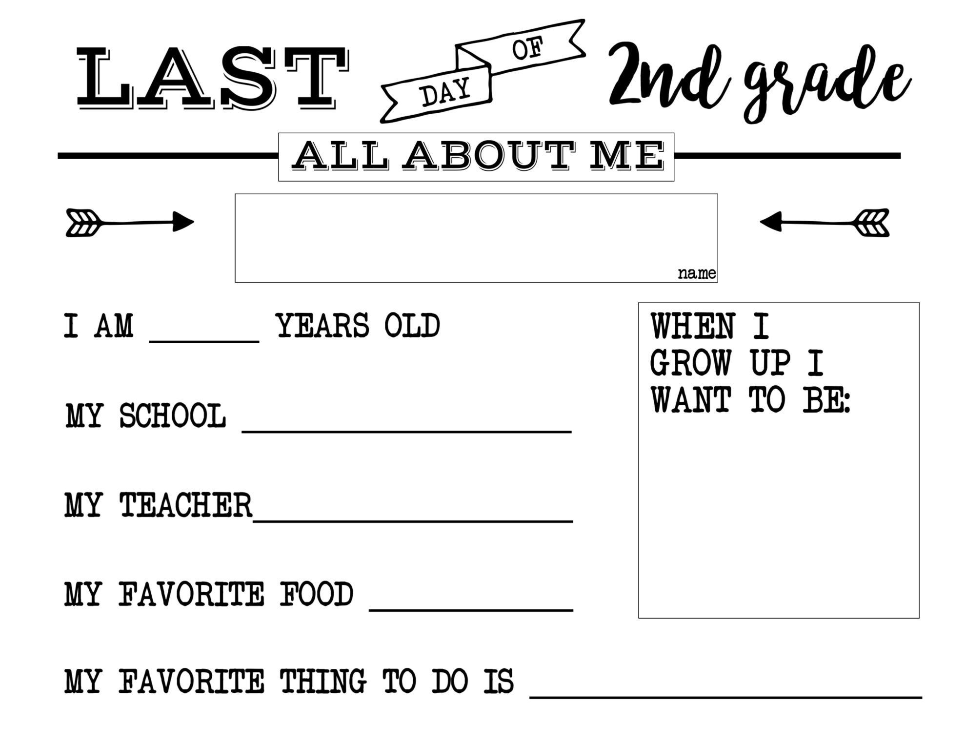 Last Day Of School Free Printable All About Me Sign