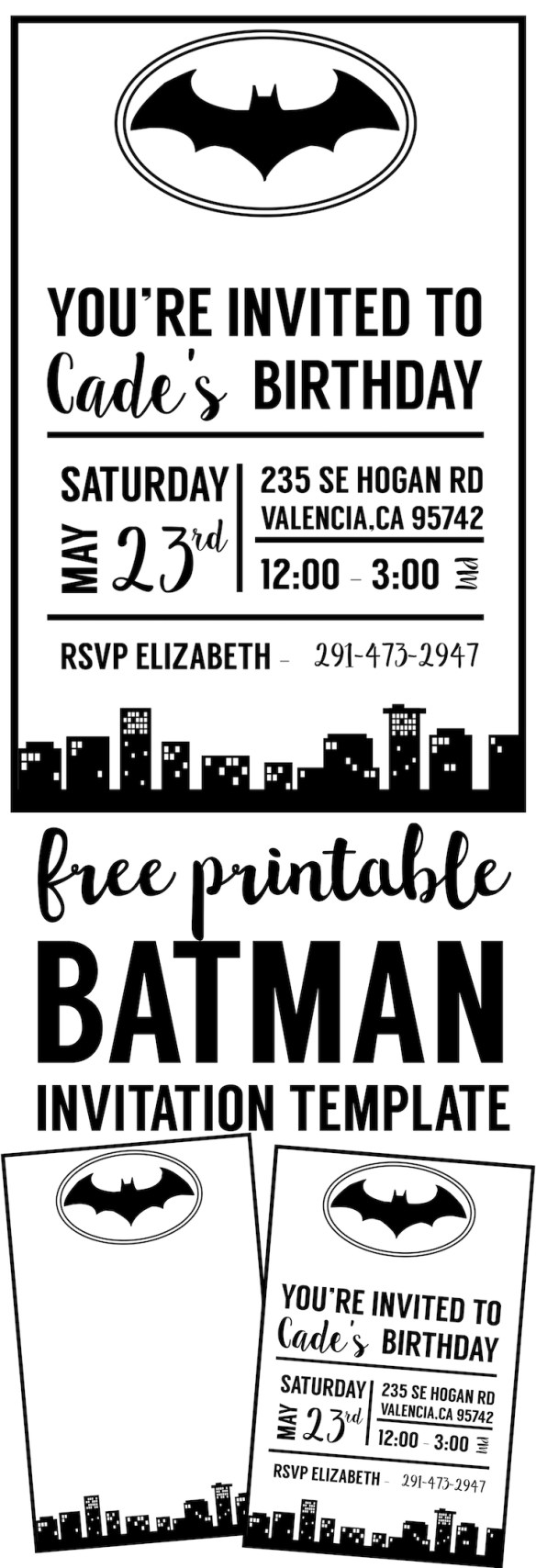 free batman invitation template printable for a batman birthday party halloween party or baby - Batman Party Invitations