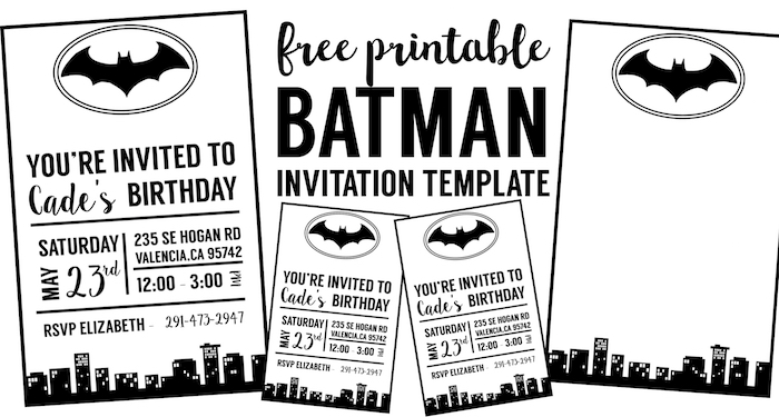 photograph relating to Birthday Party Invitations Printable named Totally free Batman Invitation Template - Paper Path Design and style