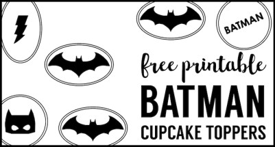 Batman Cupcake Toppers printable. Easy DIY batman cupcake decorations for a birthday party, Halloween party, or boy baby shower decorations.