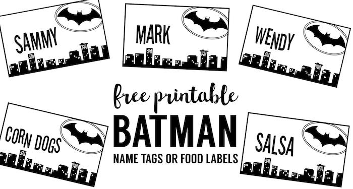 Batman Name Tags Free Printable