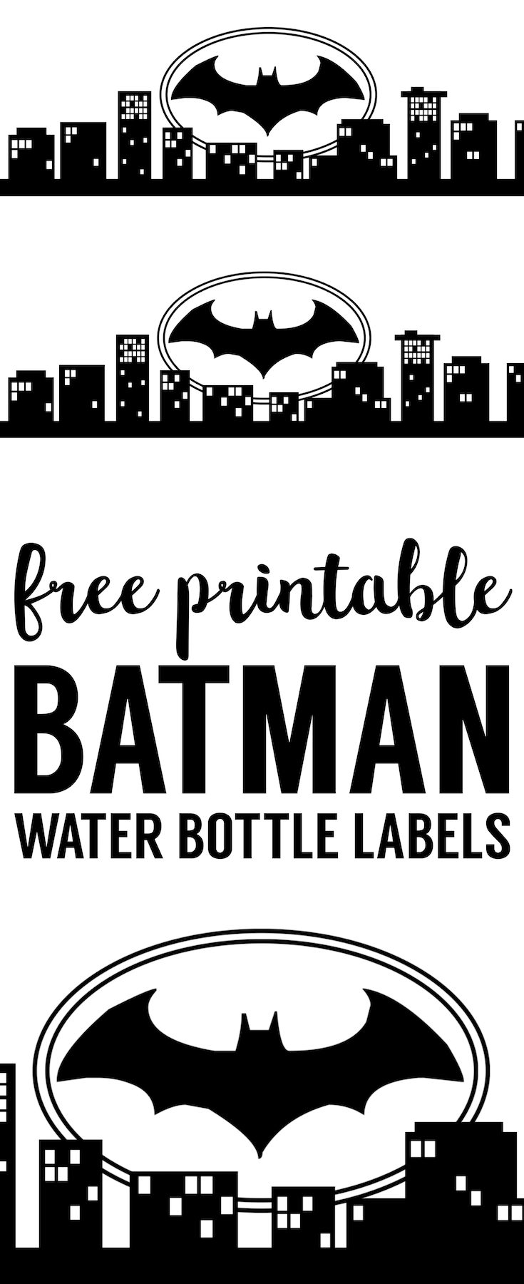 Batman Water Bottle Label Free Printable. Easy DIY Batman water bottle or juice box wrapper. Print this easy decor for your Batman birthday party, baby shower, Halloween, comic theme party.
