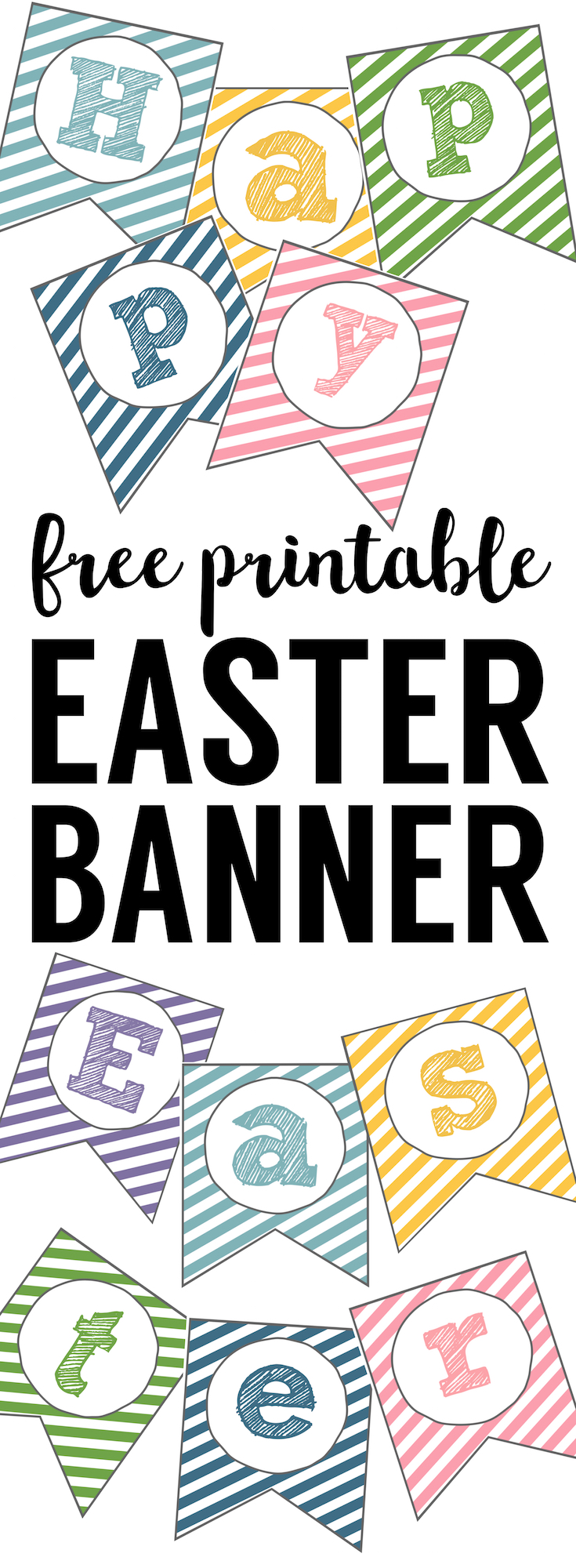 Easter Banner Free Printable. This Happy Easter Sign Printable is an easy DIY for church Easter egg hunt decor or Easter dinner decorations.