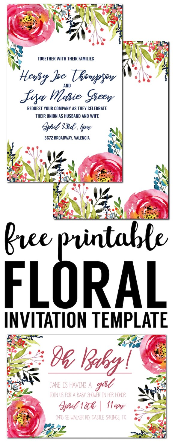 Floral Invitation Template free printable Paper Trail Design – Invitation Templates for Birthday Party