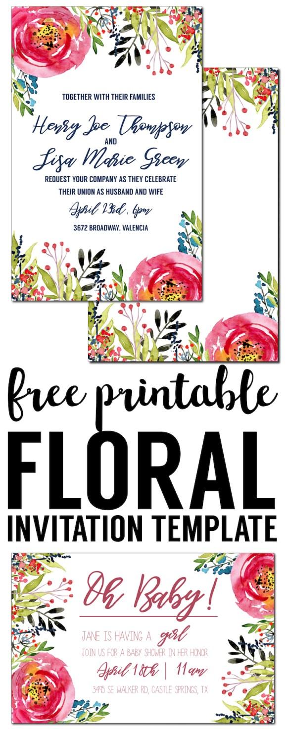 Floral Invitation Template free printable Paper Trail Design – Free Invitation Templates Birthday