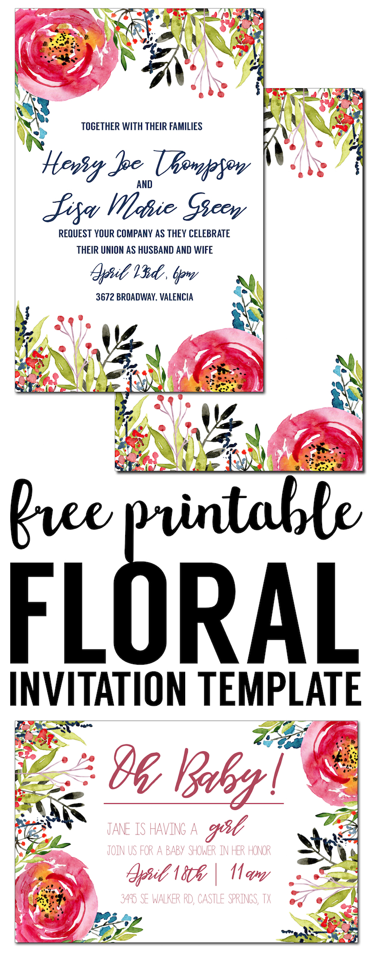 Floral Invitation Template free printable Paper Trail Design – Invitations Birthday Party Free Printable