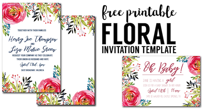 floral invitation template free printable paper trail design. Black Bedroom Furniture Sets. Home Design Ideas
