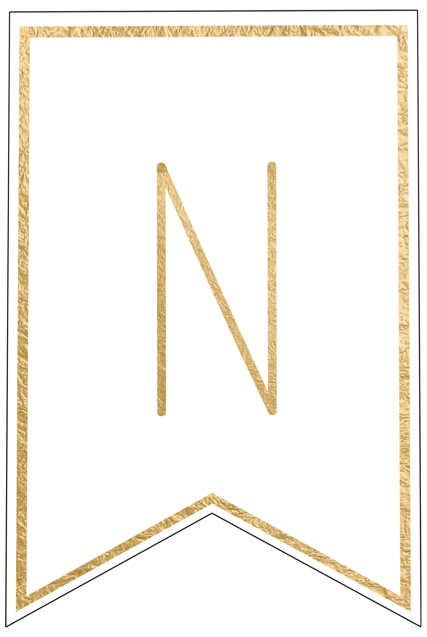 N  Th Cut Out In Gold Letters Template on