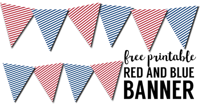 image regarding Printable Pennants referred to as Crimson White Blue Pennant Banner Cost-free Printable - Paper Path