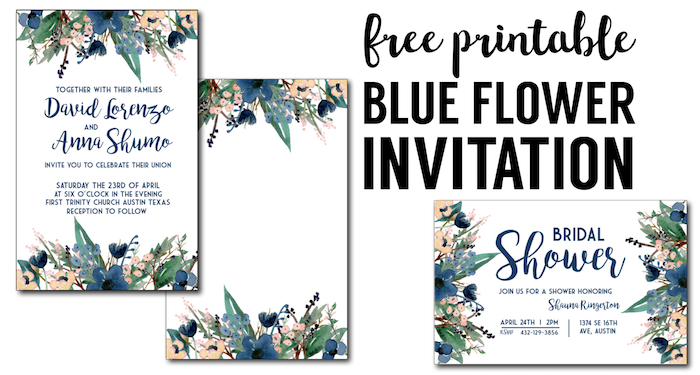 blue free printable invitation templates - Free Printable Invitation Templates