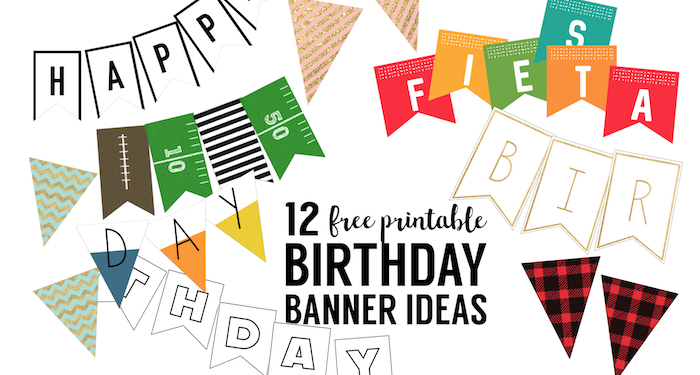 picture relating to Happy Birthday Printable Banner named Cost-free Printable Birthday Banner Designs - Paper Path Style and design
