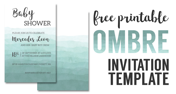 Ombre Invitation Templates Free Printable Paper Trail Design