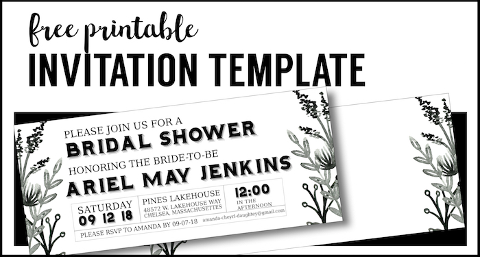 black white flowers invitations