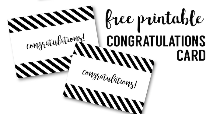 Free Printable Congratulations Card. DIY Printable congratulations card free for graduation cards, wedding card, baby shower card or retirement party.
