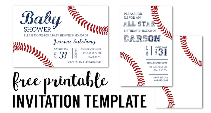 Baseball Party Invitations Free Printable  Free Birthday Party Invitation Template