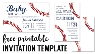 Baseball Party Invitations Free Printable