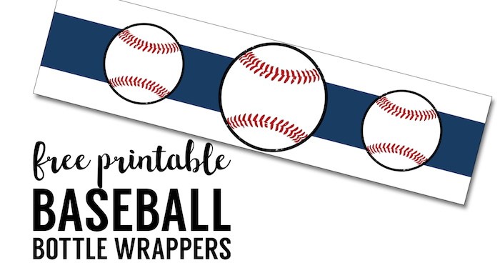 free printable baseball water bottle labels paper trail design