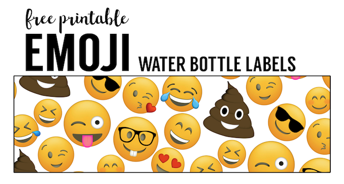 graphic relating to Free Printable Water Bottle Labels for Birthday titled Emoji H2o Bottle Labels Free of charge Printable - Paper Path Design and style