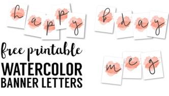 Coral Watercolor Banner Free Printable