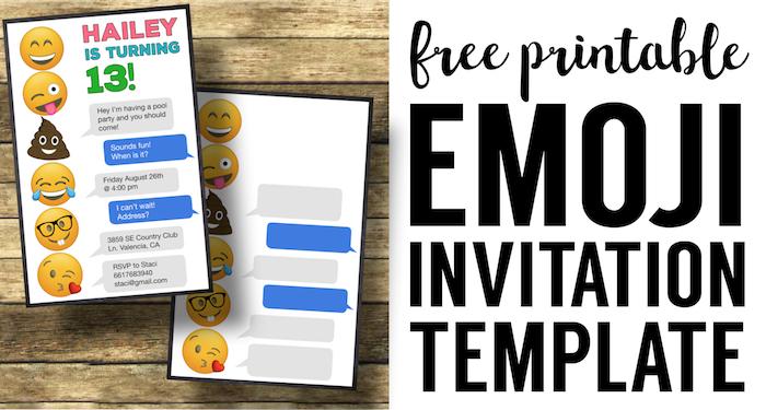 Nice Emoji Birthday Invitations Free Printable Template