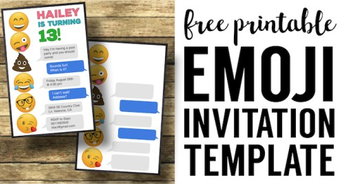 Emoji Birthday Invitations Free Printable Template. Free printable Emoji party invitations template. Easy DIY Emoji party. Easy teenage girl party invites.