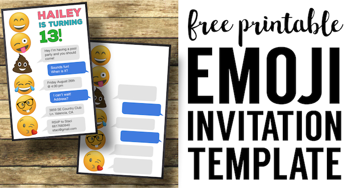 Emoji Birthday Invitations Free Printable Template  Invites Template
