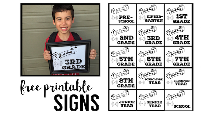 photo about First Day of School Sign Printable named No cost Printable 1st Working day of Faculty Indicators - Paper Path Style